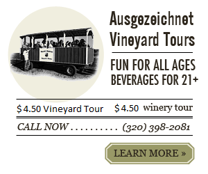 Vintage ad for tractor rides at millner vineyard. $4.50 rides, $4.50 tours. Fun for all ages, beverages for 21+ Call (320) 398-2081 to reserve a tour or click to learn more.
